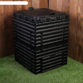 Компостер пластиковый, с крышкой, 300 л, 80 х 60 х 60 см, чёрный, piteco,