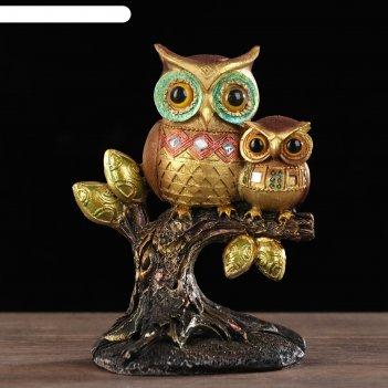 Сувенир полистоун совята на деревце цветные микс 13,5х11,5х6,5 см