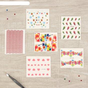 Слайдер-дизайн и наклейки для декора ногтей, 6 шт