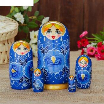Матрешка «гжель», 5 кукольная, полхово-майданская роспись, 17 см