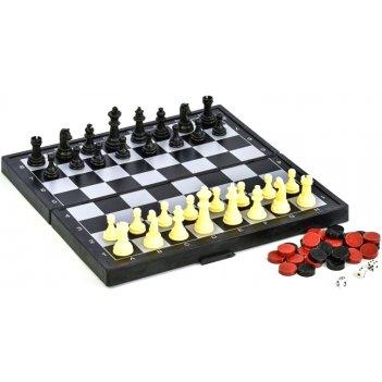 Шахматы, нарды, шашки магнитные пластиковые 3 в 1 (поле 24 см)