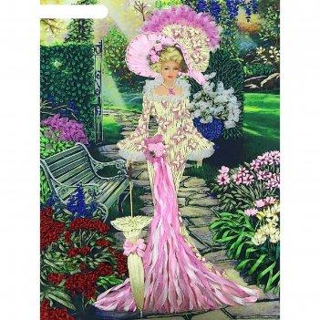 Набор для вышивки лентами «дама с корзиной цветов»