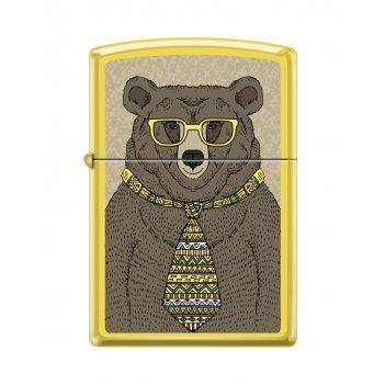 Зажигалка zippo медведь c с покрытием lemon™, латунь/сталь, жёлтая, матова