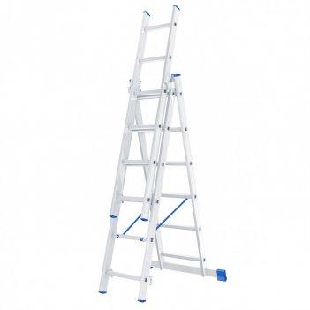 Лестница, 3 х 6 ступеней, алюминиевая, трехсекционная, россия, сибртех