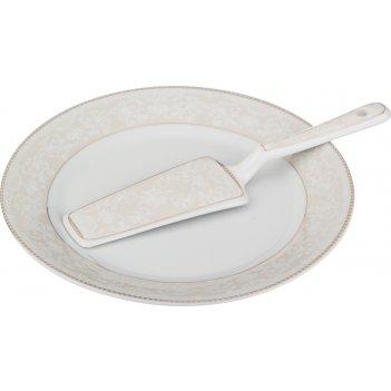 Блюдо для торта с лопаткой диаметр=23 см. (кор=20шт.)