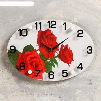 Часы настенные, серия: цветы, три розы, 24х34 см