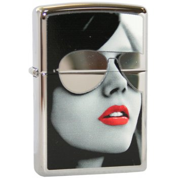 Зажигалка zippo sunglasses high polish chrome, латунь с нике
