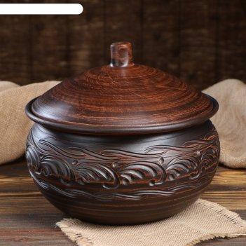 Жаровня ханза, с крышкой, гончарная, декор, 5 л