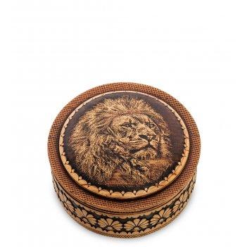 Bst-411/ 9 шкатулка лев (береста, тиснение)