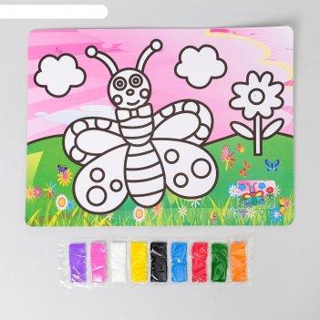 Фреска с цветным основанием бабочка-красавица 9 цветов песка по 2 г