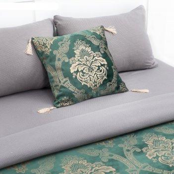 Декоративная наволочка этельверсальс кисточками 40*40±3 см,цв.зелёный,100%