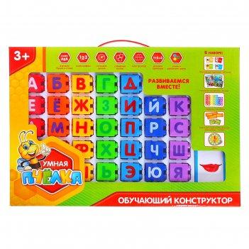 Конструктор обучающий алфавит, 60 обучающих карточек, 33 кубика, 4 вида на