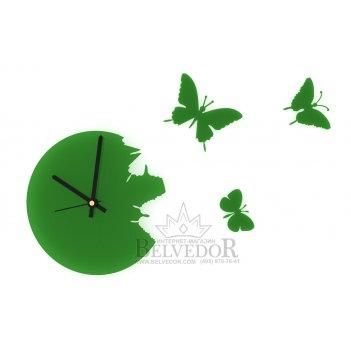 Настенные часы порхающие бабочки зеленые 28х28см