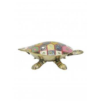 Шкатулка черепаха латунь с цветной эмалью 6,5