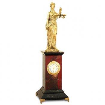 Настольные часы фемида яшма бронза 80х80х290 мм 1000 гр.