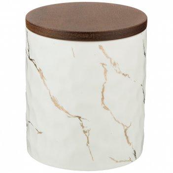 Банка для сыпучих продуктов коллекция золотой мрамор цвет:white 11,5*13,7