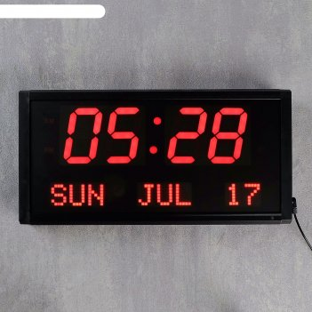 Часы настенные электронные, цифры красные, крупные 38х19х5 см