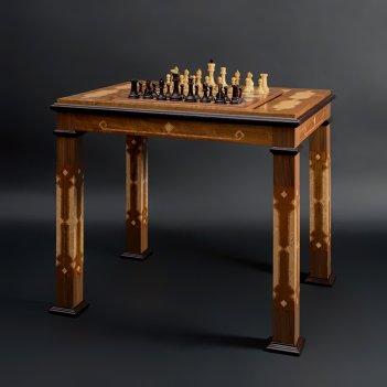 Стол шахматы-нарды с фигурами стаунтон люкс (самшит/венге) kad