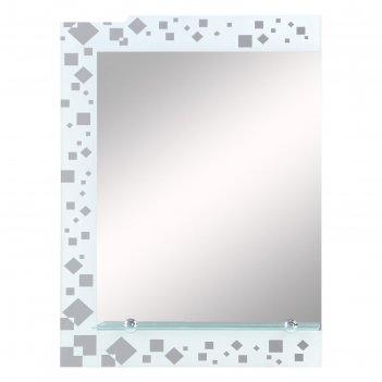 Зеркало, настенное, с пескоструйной графикой, с полочкой, 70х52 см