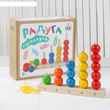 Пирамидка - счеты радуга, шарик: 3 см