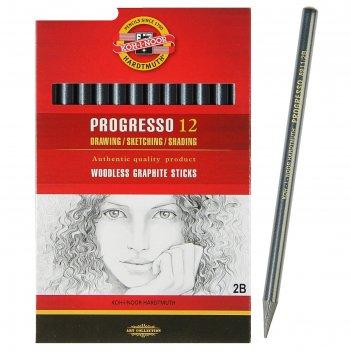 Набор карандашей цельнограф 12шт, k-i-n progresso 8911 2b (1295198)