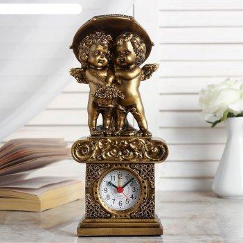 Часы настольные ангелы под зонтом, цвет золото,  h=26 см  микс