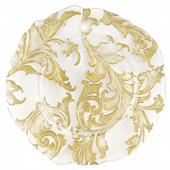Блюдо сервировочное золотой кварц d=33см. h=2,5см. (стекло) (транспортная