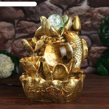 Фонтан настольный от сети, подсветка золотой карп и лотосы золото 26х18х17