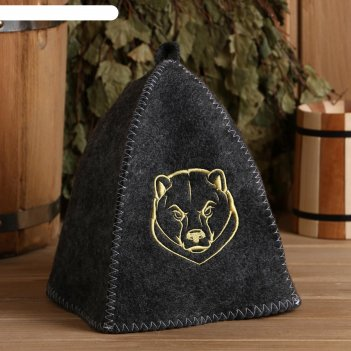 Шапка банная серая с вышивкой медведь