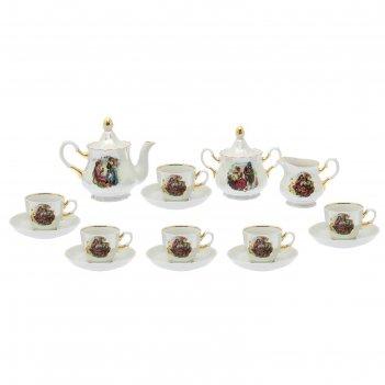 Сервиз чайный романс. мадонна 15 предметов: 6 чашек чайных 250 мл, 6 блюде