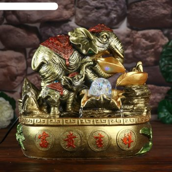 Фонтан настольный от сети, подсветка слоны с золотыми слитками 32х33х20 см