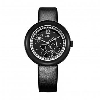 Часы наручные женские михаил москвин, чёрный циферблат, ремешок черный, 58