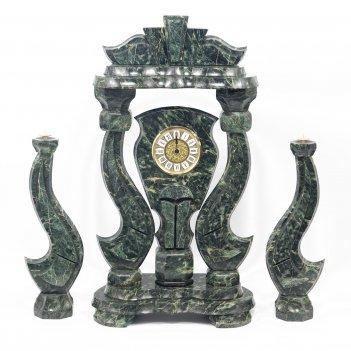 Часы корона большая с подсвечниками змеевик