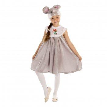 Карнавальный костюм для девочки мышка сарафан плюш,  унты, шапка, размер 6