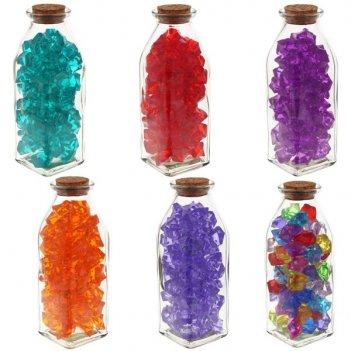 Декоративная бутылка с кристаллами, 6x6x16,5см, 6 видов