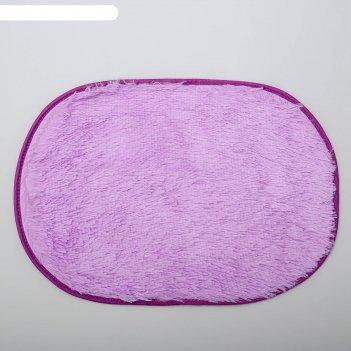 Коврик для ванной овальный пушистик, цвет сиреневый