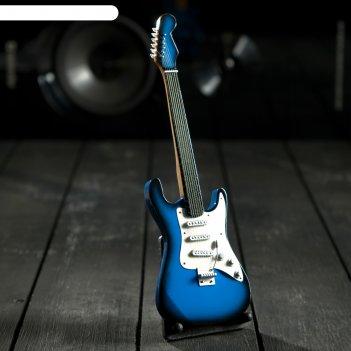 Гитара сувенирная fender сине-белая, на подставке 24х8х2 см