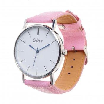 Часы наручные, d=4см хром, розовый ремешок 20 мм