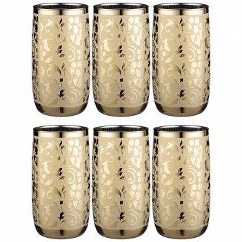 Набор стаканов из 6 шт  бельведер золотой 330 мл