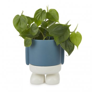 Кашпо керамическое для цветов mr. standy синее 20см