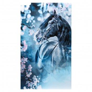Картина на холсте конь в сказочном лесу 60х100 см