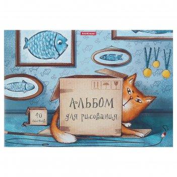 Альбом для рисования а4, 40 листов, на клею, erich krause cat & box, блок