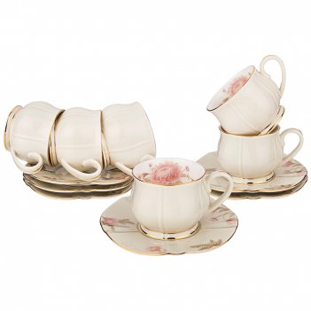 Чайный набор на 6 персон, 12 пр. астра, 200 мл.