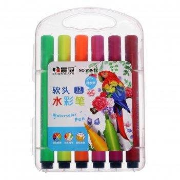 Фломастеры 12 цветов в пластиковом пенале,треугольные,толстые,вентилируемы