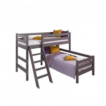 Кровать угловая соня с наклонной лестницей, 2020х2020х1440, эмаль лаванда