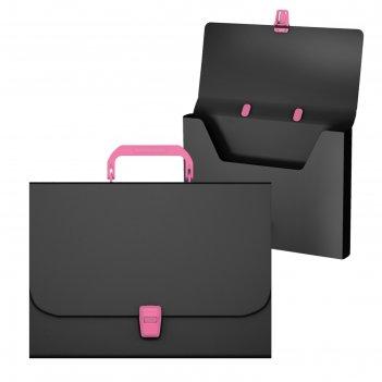 Портфель а4 erichkrause matt accent черный с розовой ручкой и замком 50439