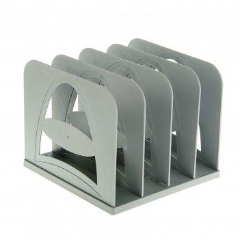Сортер - подставка для журналов и бумаг, сборная, 4 отделения, серый