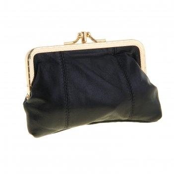 Кошелёк-косметичка, 2 отдела на рамке, цвет чёрный