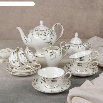 Набор чайный 15 пр пионы 6 чашек, 6 блюдец, молочник, чайник, сахарница