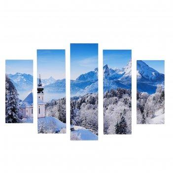 Модульная картина зимний день (2-23х52; 2-24х70; 1-24х80) 120х80см